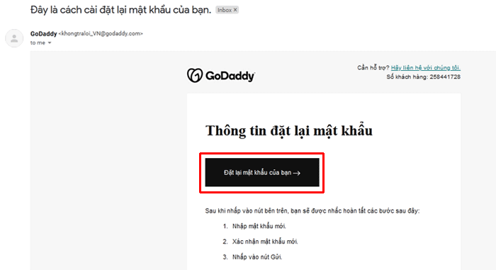 lay lai mat khau password godaddy