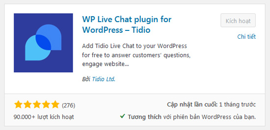 cai dat va kich hoat wp live chat plugin for wordpress tidio chat